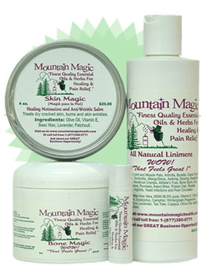 All 4 Products: All Natural Liniment (8oz.bottle), Bone Magic salve (4oz.jar), Skin Magic (4oz.tin), Lip Magic (tube)